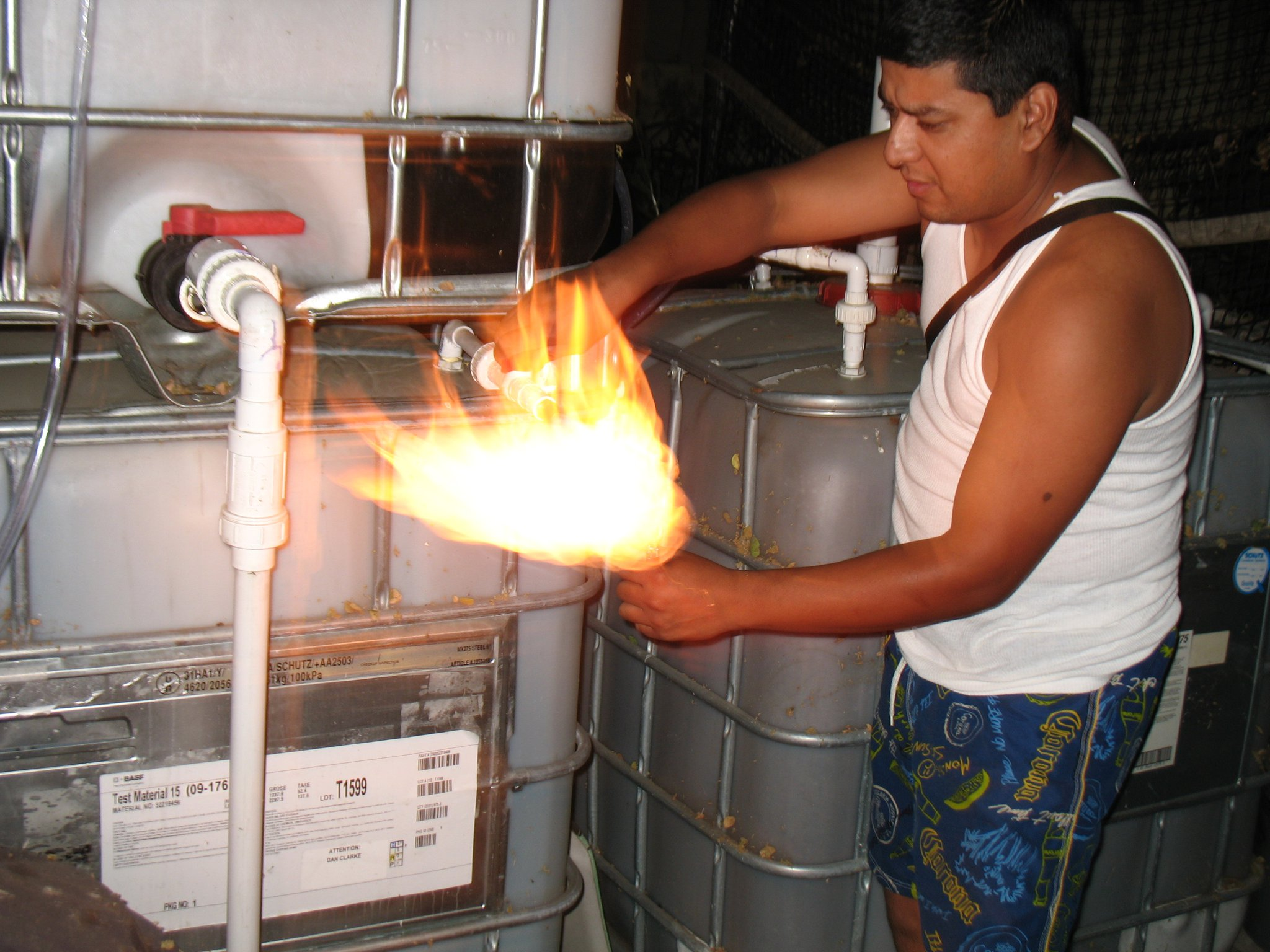 """""""Flame On"""" -- Biogas in the 'Hood demonstrated by Alvaro Silva, director of Solar South Central and Los Angeles colleague of Solar CITIES, bringing renewable energy systems to the Latino community."""