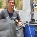 This is a picture of teh installed digester at one of the Caravans student lodging at the Arava Institute, filling the inner tube.