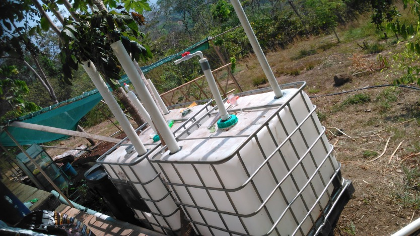 Solar CITIES IBC Biodigester under construction outside the eco-lodge kitchen