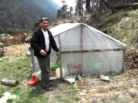 Visiting a subsistance greenhouse in the Hinku Valley village of Khote in Nepal