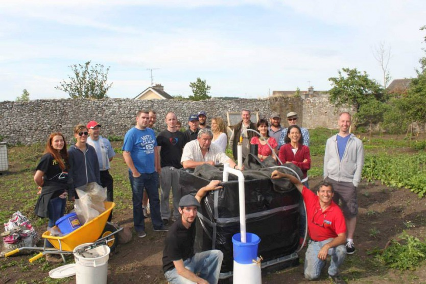 The Community Growery team after completing Ireland's first small scale biodigester