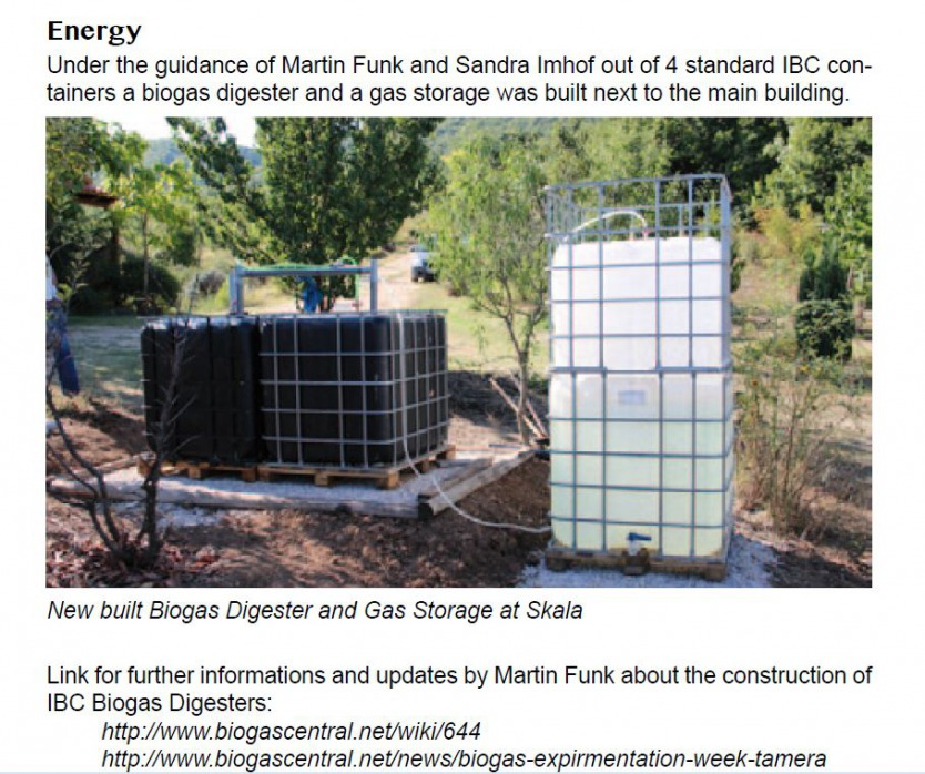 Skala Ecovillage Biogas Build with 4 IBCs for digesters and 2 IBCs for gas capture